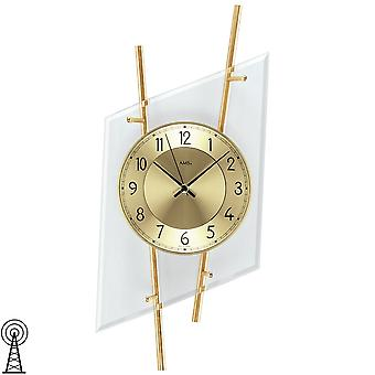 Radio controlled wall clock radio mineral glass with brass colours lacquered metal bars