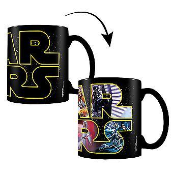 Star Wars Thermoeffekt-Tasse Logo Characters schwarz, bedruckt, aus Keramik, Fassungsvermögen ca. 320 ml..