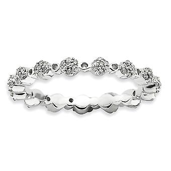 2.5mm Sterling Silver Prong set Rhodium-plated Stackable Expressions Polished Diamond Ring - Ring Size: 5 to 10