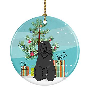 Merry Christmas Tree Bouvier des Flandres keramiske Ornament