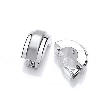Cavendish franska Silver halv Hoop och satinfinish Clip örhängen