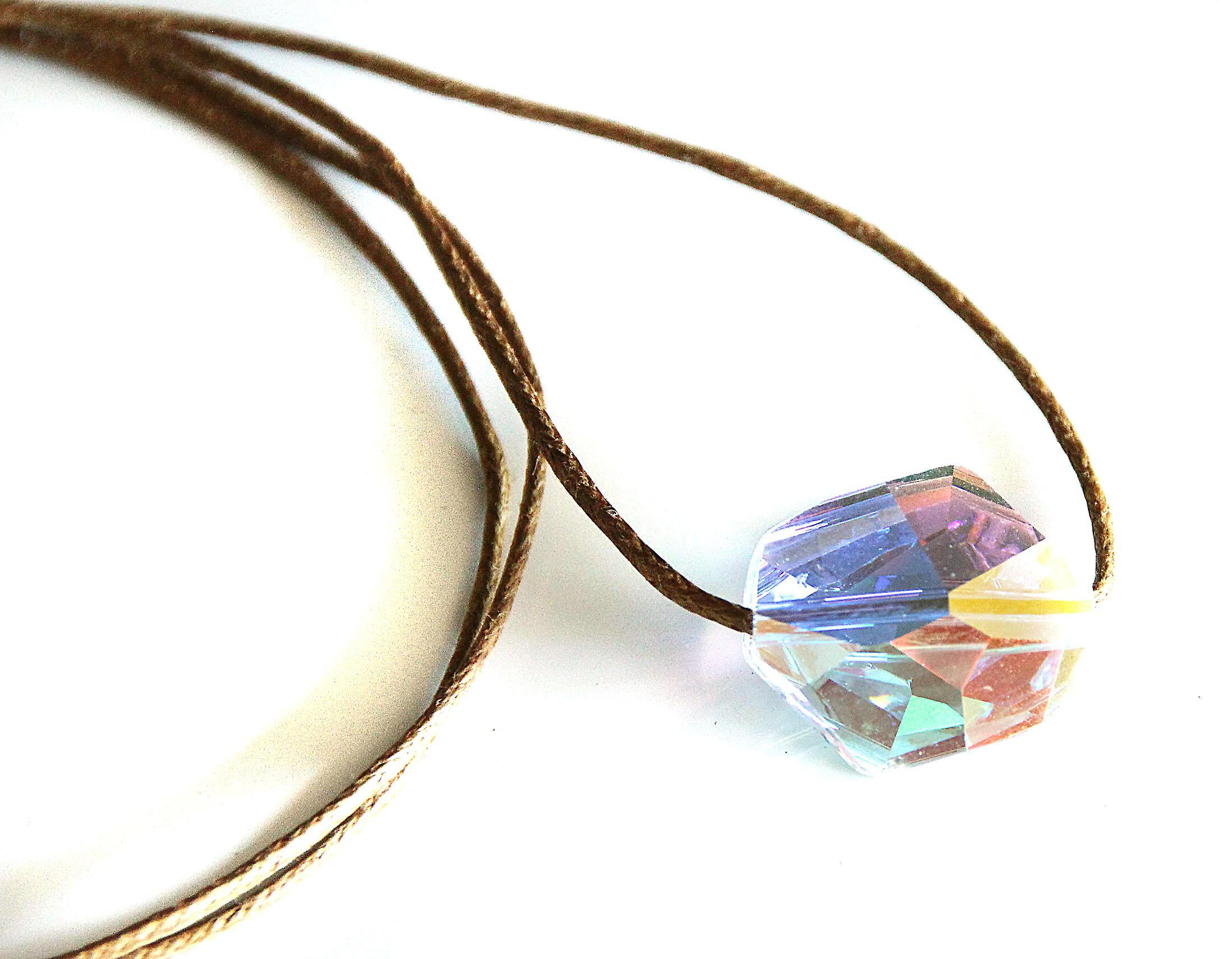 Waooh - Jewelry - Swarovski / sapphire pearl pendant with blue reflection and waxed cord - Café