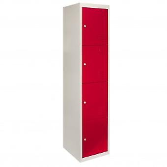 Metal Storage Lockers - Four Doors, Red