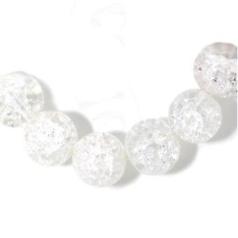 Strand 38+ Clear Cracked Glass 10mm Plain Round Beads GS3470-3