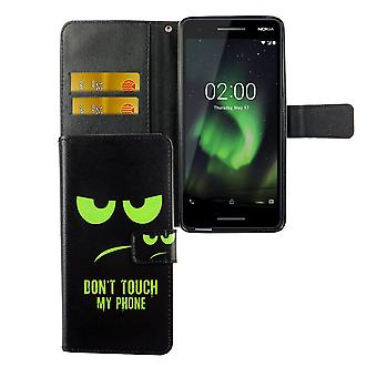 Handyhülle Tasche für Handy Nokia 2.1 2018 Dont Touch My Phone Grün