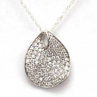 TOC Sterling Silver Clear Cz Pave Leaf Pendant Necklace 18