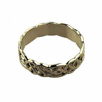 18ct Gold 6mm Celtic Wedding Ring Size R