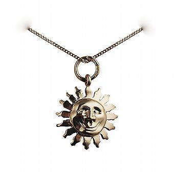 9ct Gold 15mm Gesicht von der Sonne Lächeln Anhänger mit einem Bordstein Kette 16 Zoll nur geeignet für Kinder