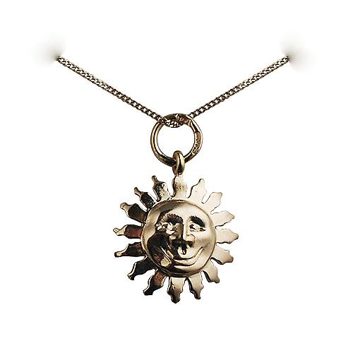 9ct Gold 15mm face of the sun smile Pendant with a curb Chain 16 inches Only Suitable for Children