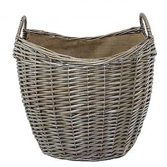 Small Scoop Neck Antique Wash Hessian Lined Wicker Log Basket