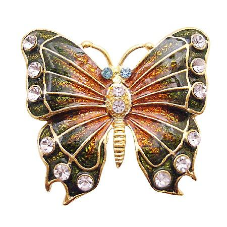 Bright Glimmering Two Shaded Butterfly Sparekling Diamond Studs Brooch