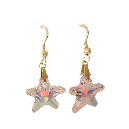 AB Crystals Starfish Earrings 15mm Sterling Silver AB Star Earrings