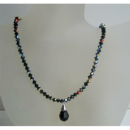Jet Black Swarovski Beaded Jewelry AB Jet Crystal Tear Drop Necklace