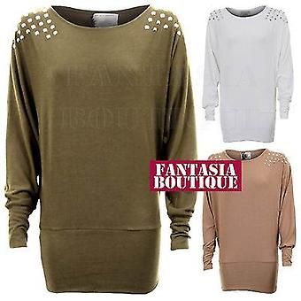 Ladies Long Sleeve Studded Shoulder Knitted Batwing Stretch Womens Top