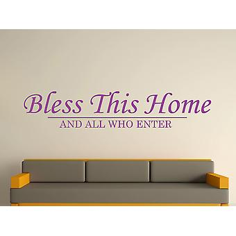 Bless This Home Wall Art Sticker - Purple
