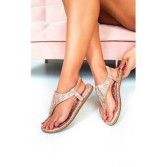 IKRUSH Womens Farah Diamante Embellished T-Bar Sandals