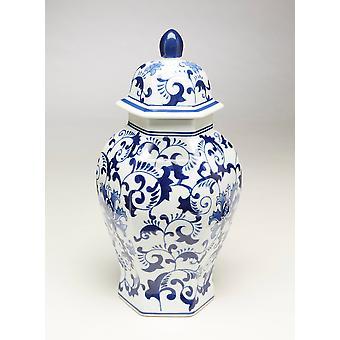 Importieren von 59805 14 Zoll Hexagon blau & weißer Ingwer Jar AA
