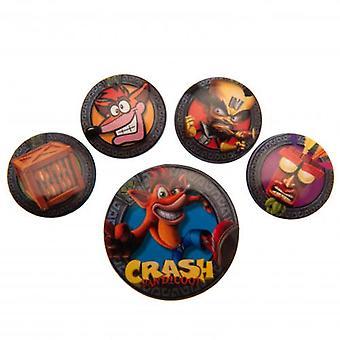 Crash Bandicoot Schaltflächenset Abzeichen