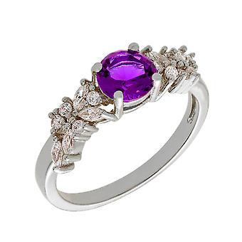 Bertha Juliet Collection Women's 18k WG Plated Purple Cluster Fashion Ring Size 8
