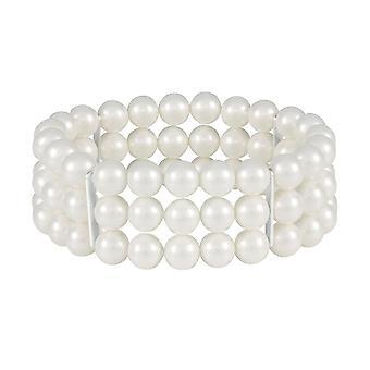 Eternal Collection Cavendish Three Strand White Pearl Stretch Cuff Bracelet