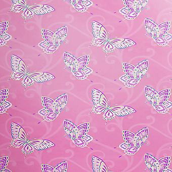 Papillon Butterfly Motif Pink Lilac Wallpaper chicas dormitorio oro metálico Holden