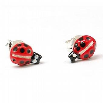 The Olivia Collection S. Silver Red 8mm Ladybird Stud Earrings Plus Pouch