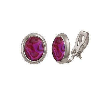 Eternal Collection Minuet Purple/Fuchsia Paua Shell Silver Tone Stud Clip On Earrings