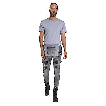 Mens super skinny bib overalls - faded grey
