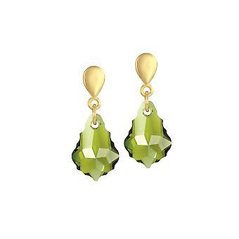 Eternal Collection Baroque Olivine Green Austrian Crystal Gold Tone Drop Pierced Earrings