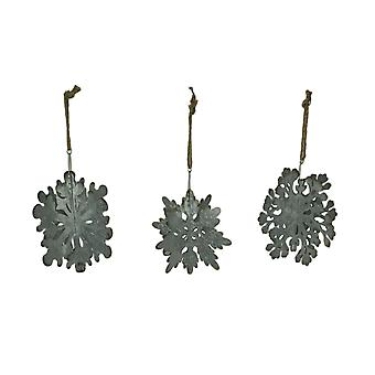 Rustic Galvanized Metal Giant Hanging Snowflake Ornament Set of 3