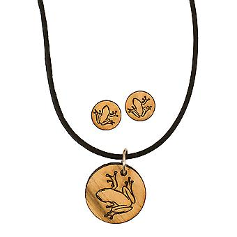 Jewelry set - frog outline - raw wood