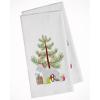 Bedlington Terrier Merry Christmas Tree White Kitchen Towel Set of 2