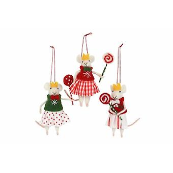 Gisela Graham Wool Mice with Lollipops Decoration|Handpicked Gifts