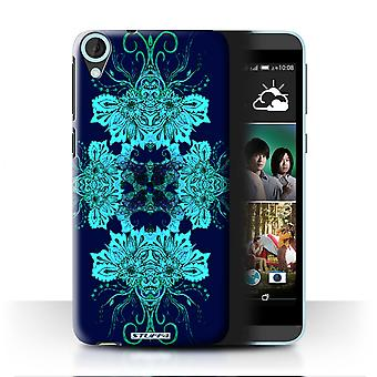 STUFF4 Case/Cover for HTC Desire 820q Dual/Blue Flower/Symmetry Pattern