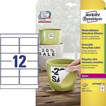 Avery-Zweckform L4776REV-20 Labels (A4) 99.1 x 42.3 mm Polyester film White 240 pc(s) Removable Address labels, Weatherp