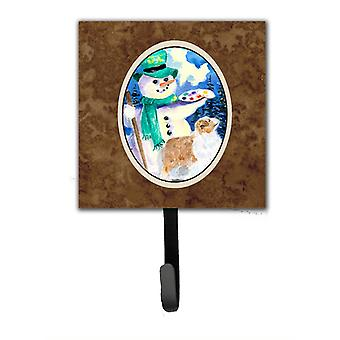 Snowman with Australian Shepherd Leash Holder or Key Hook