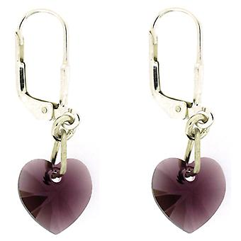 Kleshna Swarovski Crystal Candy Hearts Drop Earrings in Amethyst Purple