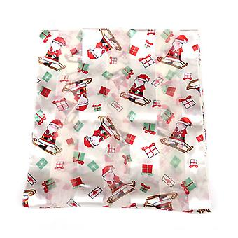 Santa Claus with Presents Ladies Christmas Scarf White