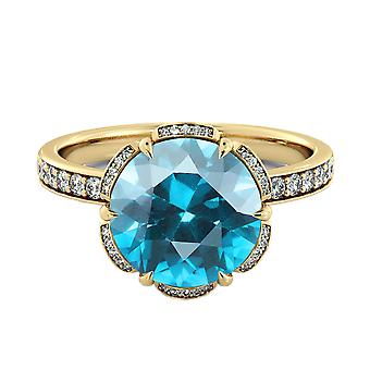 Aquamarine 2.00 ctw Ring with Diamonds 14K Yellow Gold Flower Vintage Halo