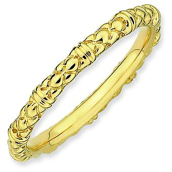 Sterling Silver Stackable Expressions Gold-plated Cable Ring - Ring Size: 5 to 10