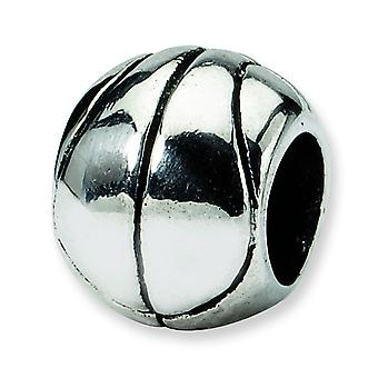 Sterling Silver Polished Antique finish Reflections Basketball Bead Charm