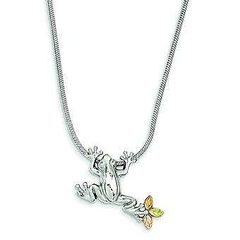 Sterling Silver and 12k Frog Slide Necklace - 20 Inch