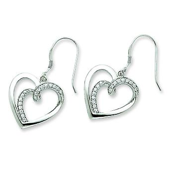 Sterling Silver CZ Soulmate boucles - mesures 36x19mm