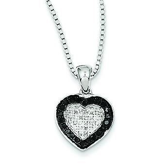 Sterling Silver Black and White Diamond Heart Pendant Necklace - .28 dwt