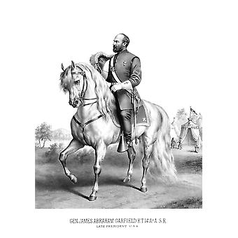 Vintage American history print of President James Garfield on horseback Poster Print