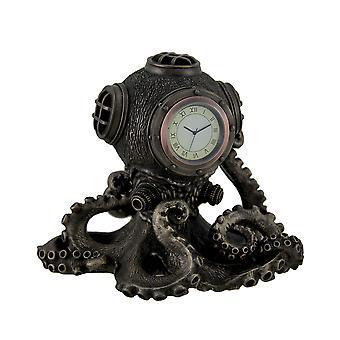 Bronze Finish Steampunk Octopus Diving Bell Clock Statue