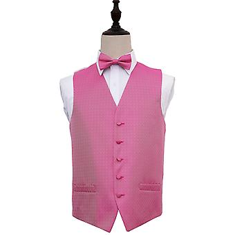 Fuchsia Pink Greek Key Patterned Wedding Waistcoat & Bow Tie Set