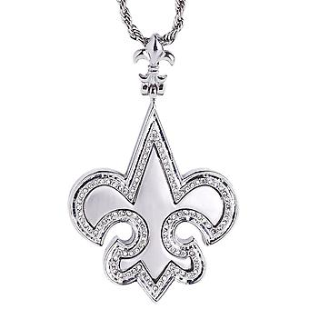 Iced out bling chain - brushed FLEUR DE LIS