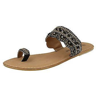 Ladies Spot On Leather Collection Beaded Toe Sandals