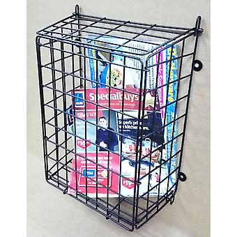 Black Letter Box Catcher Cage With Lift Up Lid